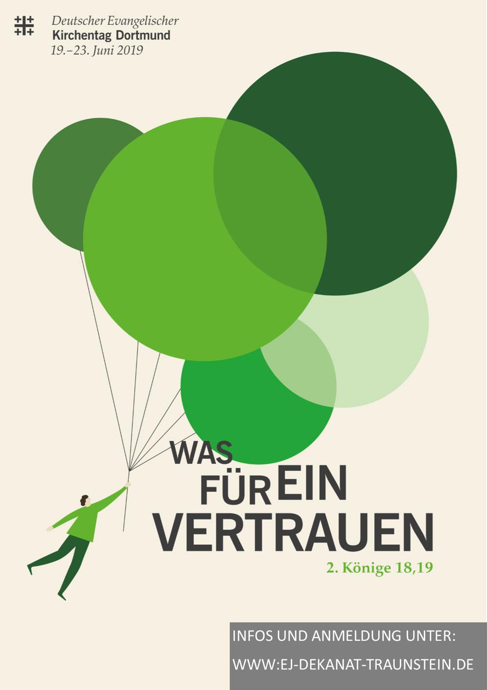 Flyer zum Kirchentag zeigt Mann, der von grünen Luftballons in die Lüfte gezogen wird.